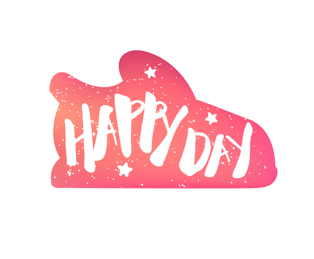 Color sneaker with stars and lettering text Happy Day on white background. Vector sticker.