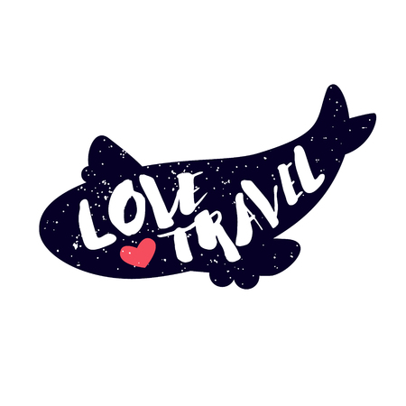 Airplane with red heart and lettering text Love Travel on white background. Vector color sticker.