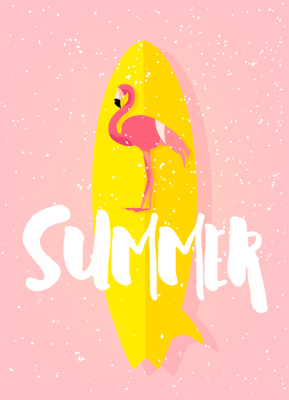 Summer beach poster with flamingo, surfboard and text on pink background. Flat design. Vector card.