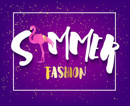 Summer fashion card with flamingo, text and golden spray on violet background. Flat design. Vector banner. Illustration