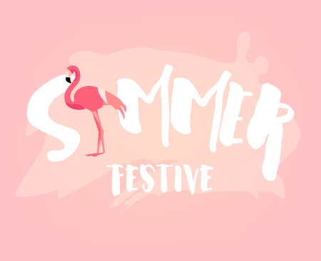 Summer festive banner with flamingo and text on pink background. Flat design. Vector card.
