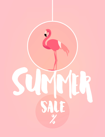 Summer festive card with flamingo and text on pink background. Flat design. Vector banner for sale.