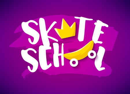 Bright summer banner with skateboard, crown and text on violet background. Flat design. Vector card.