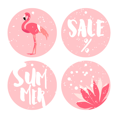 Set of summer stickers for sale with flamingo, flower and text on pink background. Flat design. Vector. Illustration