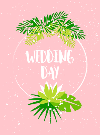 Wedding summer card with palm leaves, tropical plants and text on pink background. Flat design. Vector card.