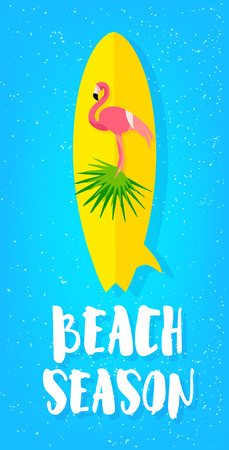 Summer beach poster with flamingo, surfboard, palm leaves and text on blue background. Flat design. Vector card. Illustration