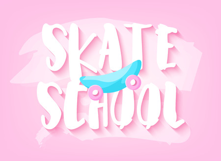 Cool summer banner with skateboard and text on pink pastel background. Flat design. Vector card.