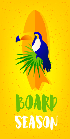 Summer beach poster with toucan, surfboard, palm leaves and text on yellow background. Flat design. Vector card. Illustration