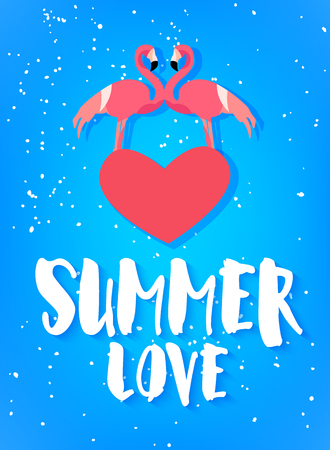 Summer love poster with two flamingo, red heart and text on blue background. Flat design. Vector card.