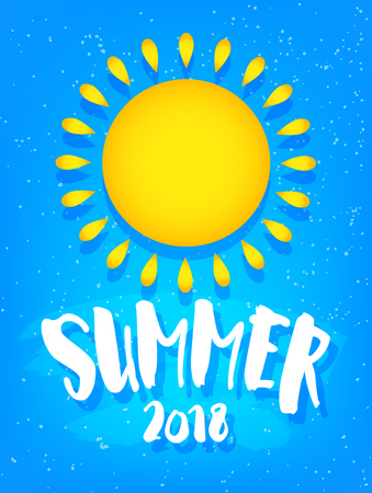 Summer card with big sun and text on blue background. Flat design. Vector banner.