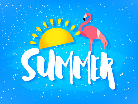 Summer card with flamingo, sun and text on blue background. Flat design. Vector banner.