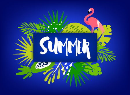 Trendy summer banner with palm leaves, flamingo, tropical plants and text on dark background. Flat design. Vector card.