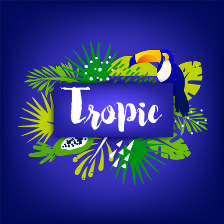 Trendy summer banner with palm leaves, toucan, tropical plants and text on dark background. Flat design. Vector card.