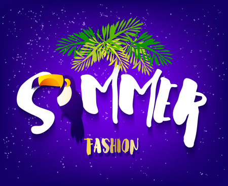 Summer fashion banner with toucan, text and palm leaves on violet background. Flat design. Vector tropical card. Illustration
