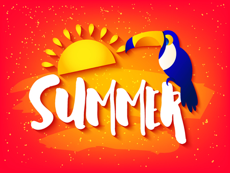 Summer bright card with toucan, sun and text on red background. Flat design. Vector tropical banner.