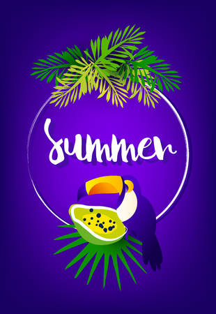 Bright summer card with palm leaves, papaya, toucan, frame and text on violet background. Vector tropical card.