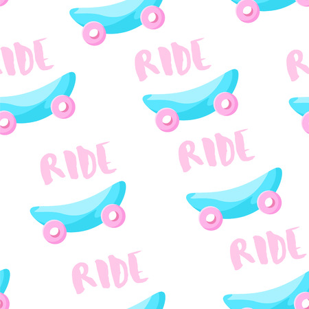 Cute pattern with skateboard and text Ride on white background. Ornament for textile and wrapping. Vector.