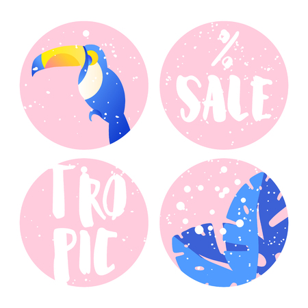 Set of summer labels for sale with toucan, palm leaves and text on pink circles. Flat design. Vector background.