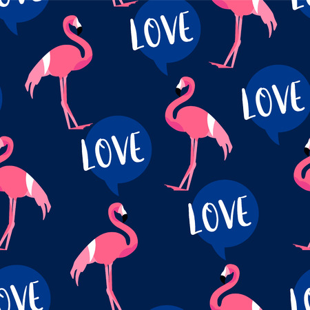 Summer pattern with cute flamingo and text cloud on dark background. Ornament for textile and wrapping. Vector. Illustration
