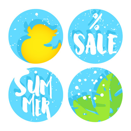 Set of summer labels for sale with duck, palm leaves and text on blue circles. Flat design. Vector background.