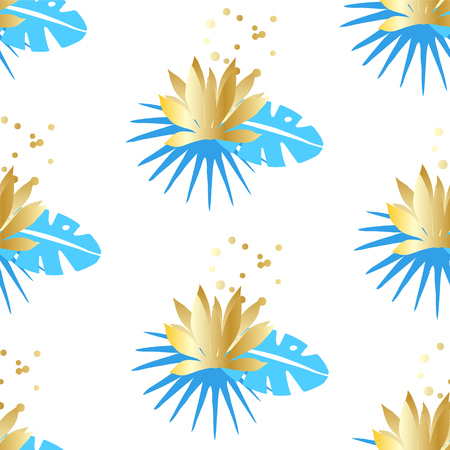 Floral seamless pattern with tropical leaves and golden lotuses on a white background. Ornament for textile and wrapping. Vector. Illustration