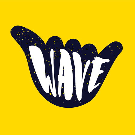 Hand gesture with lettering text Wave on yellow background. Vector color sticker.
