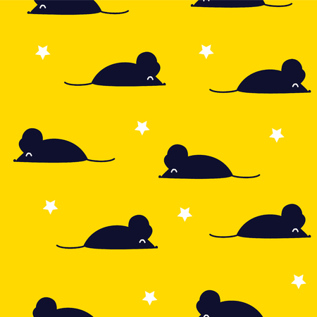 Cute pattern with black mouse and stars on yellow background. Ornament for textile and wrapping. Vector.