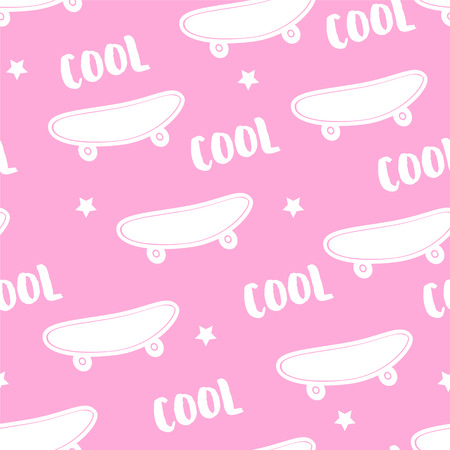Summer pattern with skateboard and text Cool on pink background. Ornament for textile and wrapping. Vector.  イラスト・ベクター素材