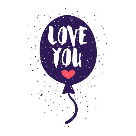 Love label with balloon and lettering text on white background. Vector illustration for greeting cards, decoration, prints and posters.