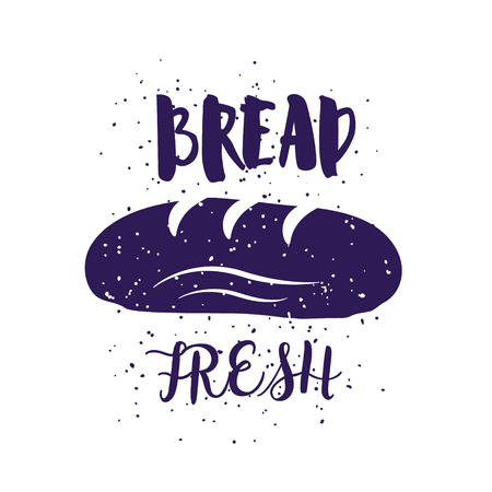 Bakery card with bread and lettering text on white background. Vector illustration for greeting cards, decoration, prints and posters. Illustration