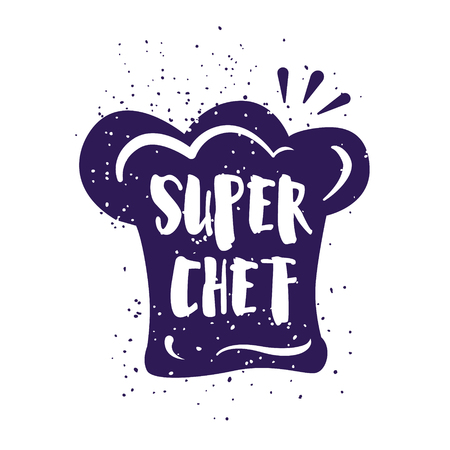 Food card with chefs hat and lettering text on white background. Vector illustration for greeting cards, decoration, prints and posters.