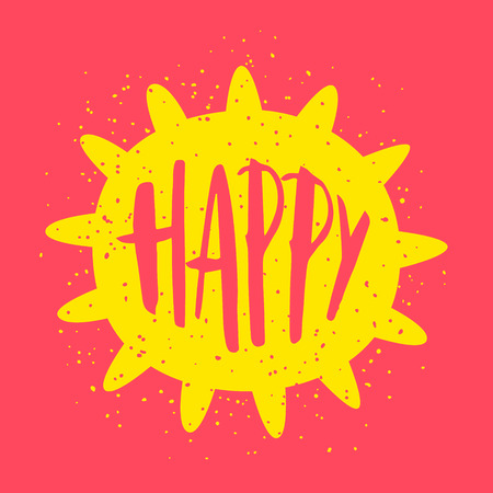 Summer card with sun and lettering text Happy on red background. Vector illustration. Illustration