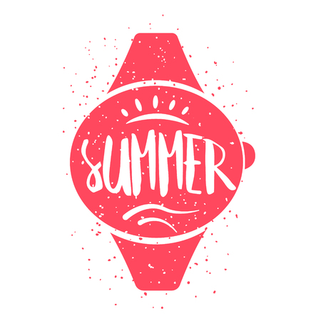 Summer card with wrist watch and lettering text on white background. Vector illustration for greeting cards, decoration, prints and posters.