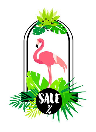 Summer card with flamingo, arch and tropical plants on white background. Flat design. Vector banner for sale.