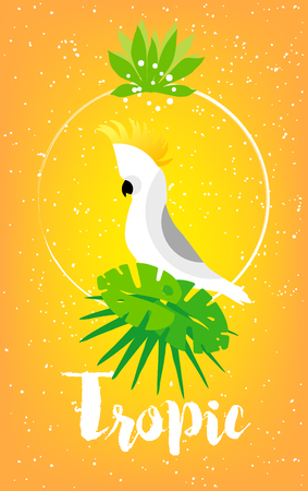 Bright summer card with palm leaves, cockatoo, frame and text on yellow background. Vector tropical card.