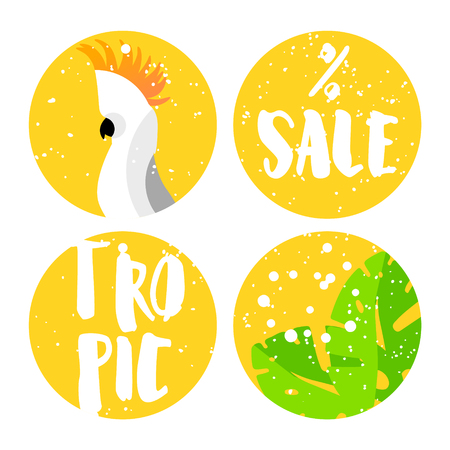 Set of summer labels for sale with cockatoo, palm leaves and text on yellow background. Flat design. Vector.