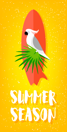 Summer season poster with parrot, surfboard, palm leaves and text on yellow background. Flat design. Vector card. Illustration