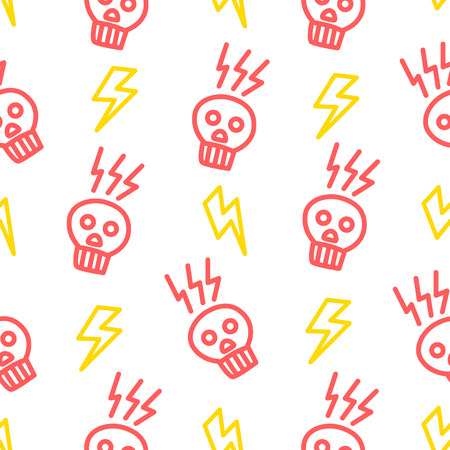 Hipster pattern with skull and lightning in doodle style. Ornament for textile and wrapping. Vector summer background. Illustration
