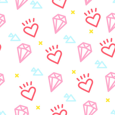 Color hipster pattern with heart, diamond and triangle on white background. Ornament for textile and wrapping. Vector. Illustration