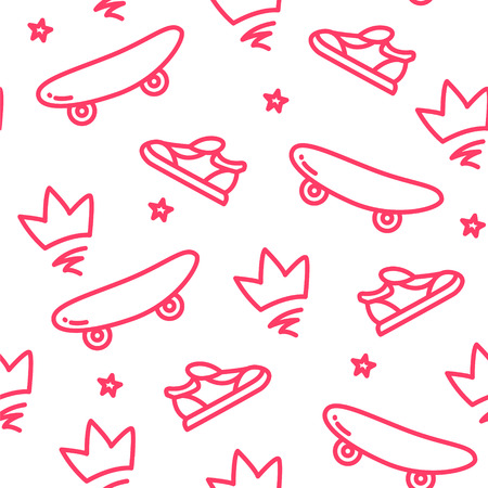 Summer pattern with skateboard, crown and sneakers on white background. Ornament for textile and wrapping. Vector.