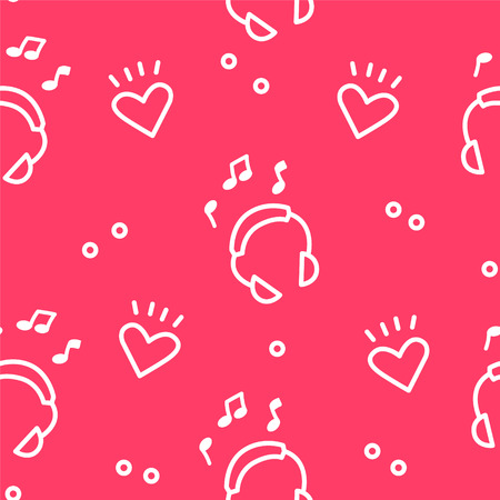 Summer pattern with headphones and hearts on red background. Ornament for textile and wrapping. Vector.