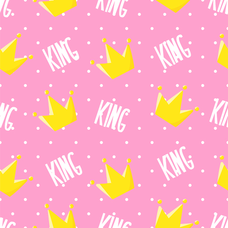 Child pattern in polka dot with crown and text on pink background. Ornament for textile and wrapping. Vector. Illustration