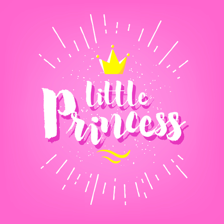 Cute greeting card with lettering little princess and crown on pink background. Vector banner.