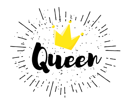 Lettering Queen and crown on white background. Vector label.
