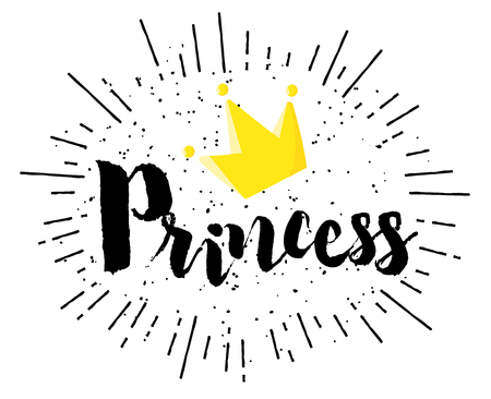 Lettering Princess and crown on white background. Vector banner.