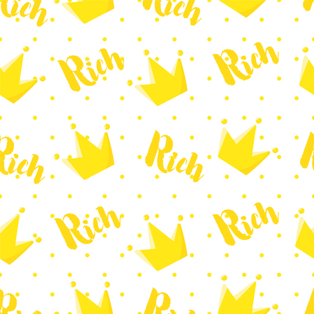 Royal pattern in polka dot with crown and text on white background. Ornament for textile and wrapping. Vector.