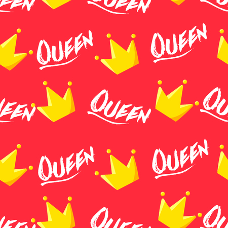 Summer pattern with crown and text on red background. Ornament for textile and wrapping. Vector.