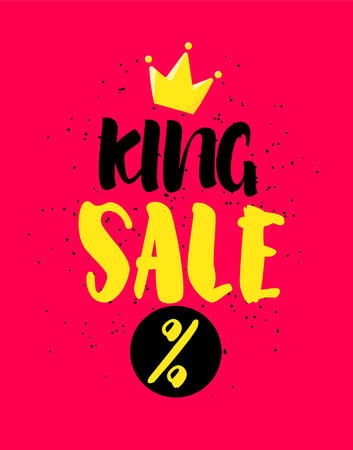 Sale card with lettering and crown on red background. Vector banner. Illustration