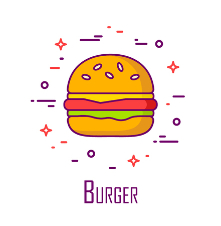 Vector color icon with burger on white background. Thin line flat design. Banner for fast food.