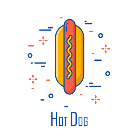 Vector color icon with hot dog on white background. Thin line flat design. Banner for fast food. Illustration